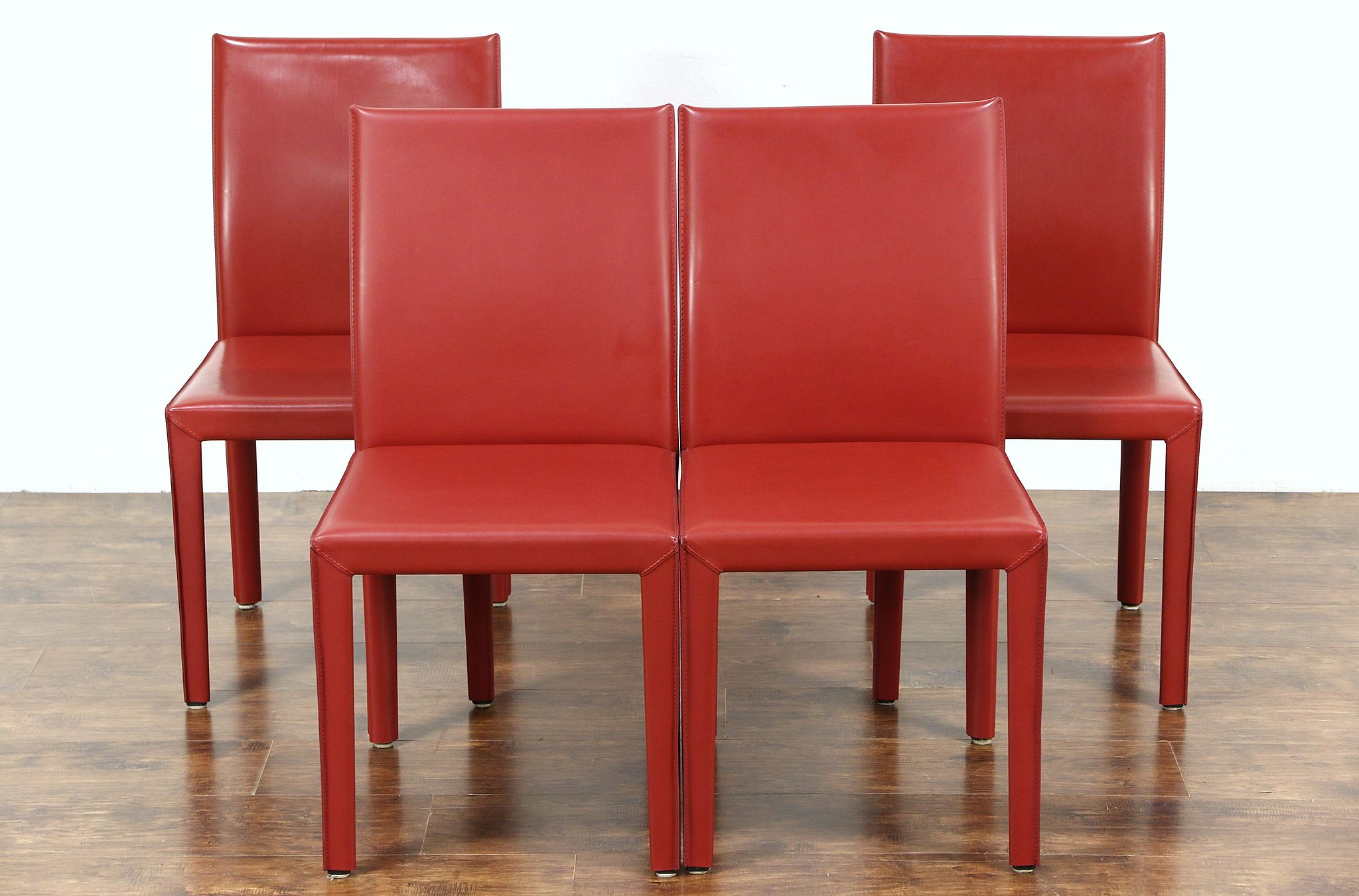 Leather Dining Room Chairs Set Of 4 Red Leather Dining Or Game Table Chairs Signed Maria Yee Ca