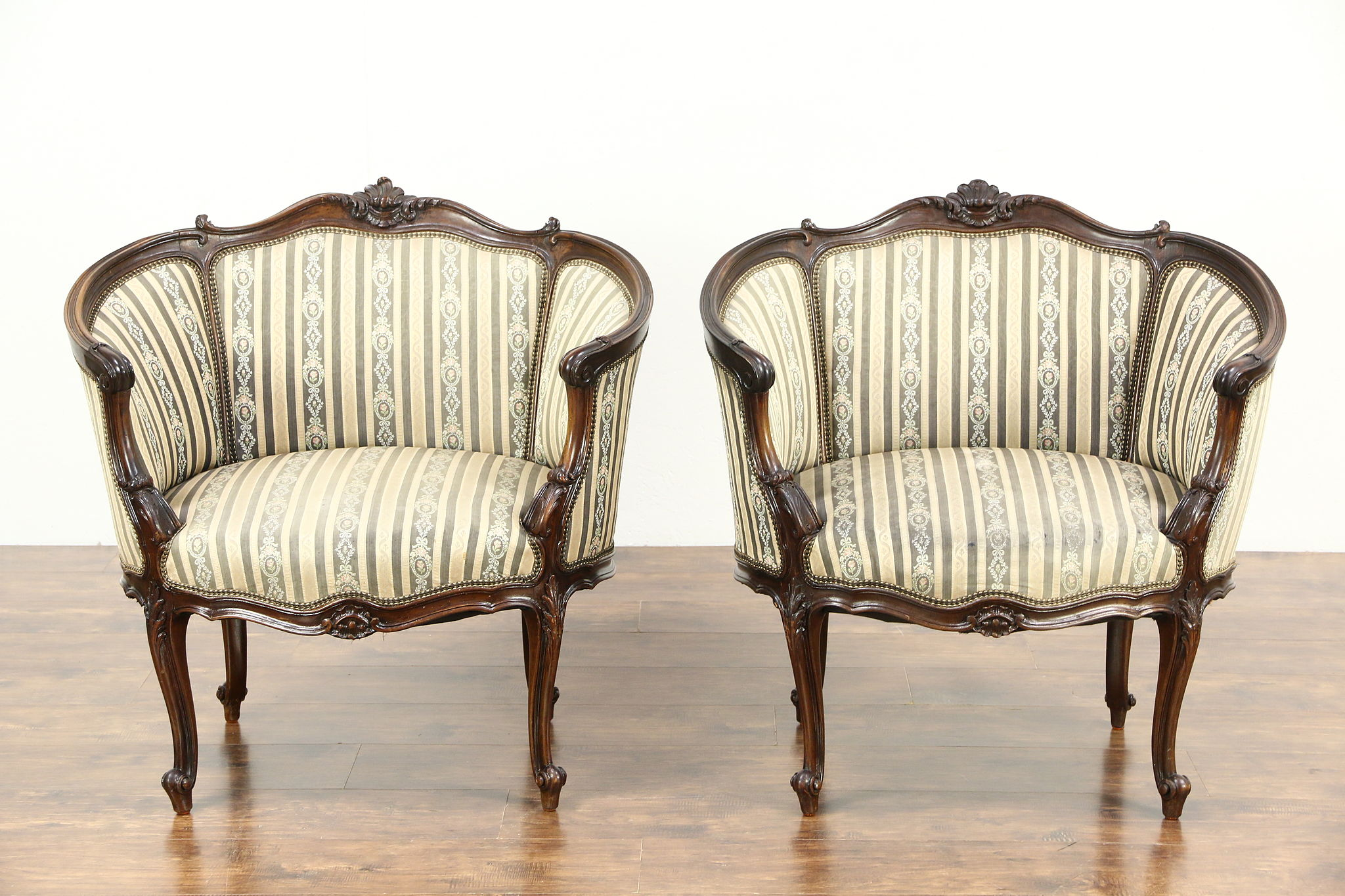 Louis The 14th Furniture Sold Pair Of French Louis Xiv Hand Carved Walnut 1920