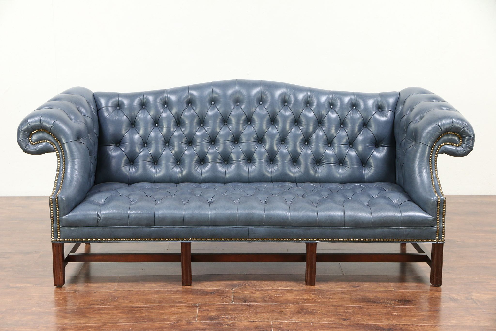 Vintage Couch Chesterfield Tufted Leather Vintage Sofa Brass Nailhead Trim 29423