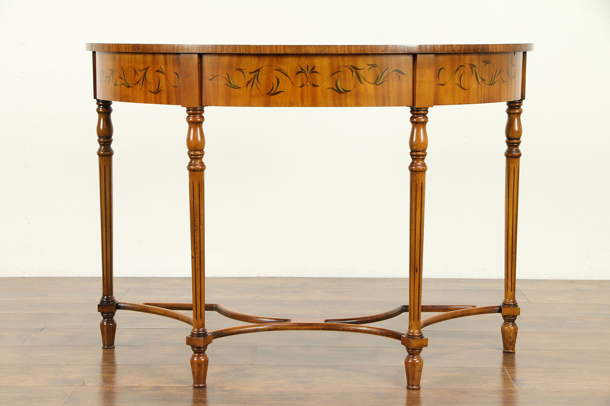 Vintage Hall Table Demilune Half Round Vintage Hall Console Table Hand Painted Angels 30934