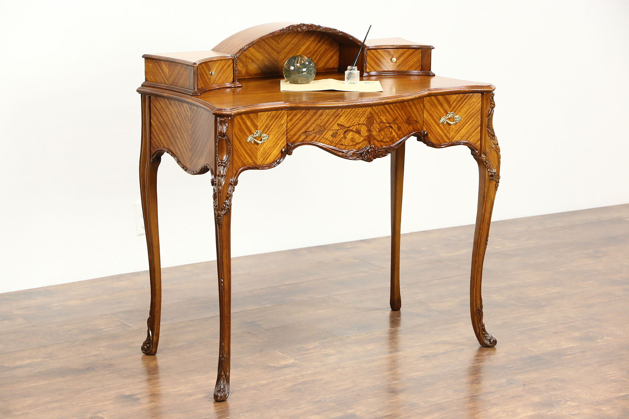Sofa With French Writing Satinwood Marquetry French Style 1930 Vintage Writing Desk