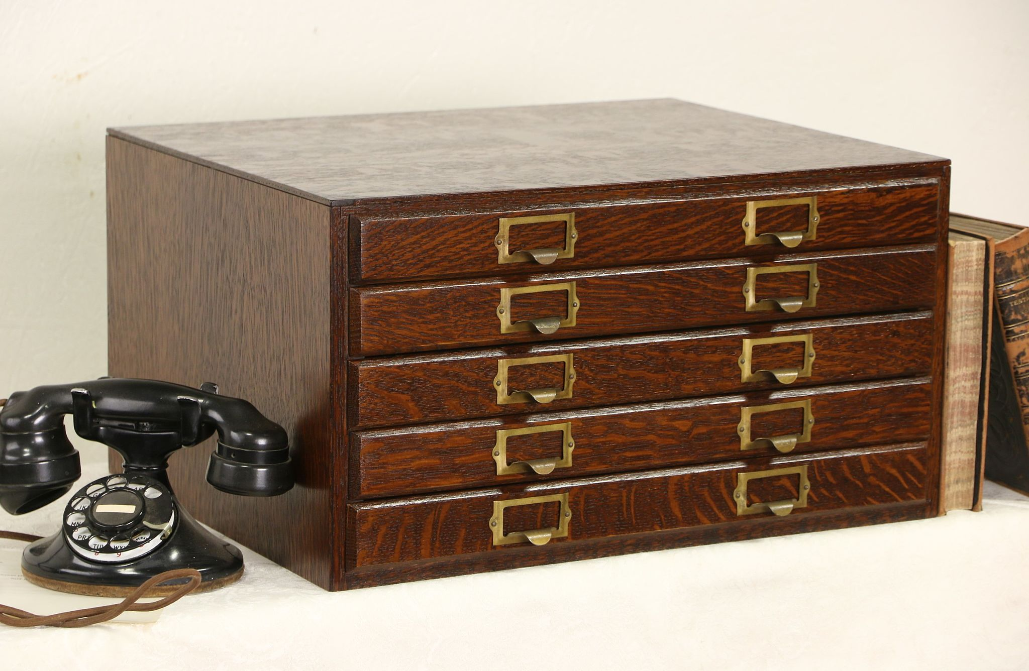 Desk Top Drawers 5 Drawer 1910 Quartersawn Oak Antique Desktop Paper File