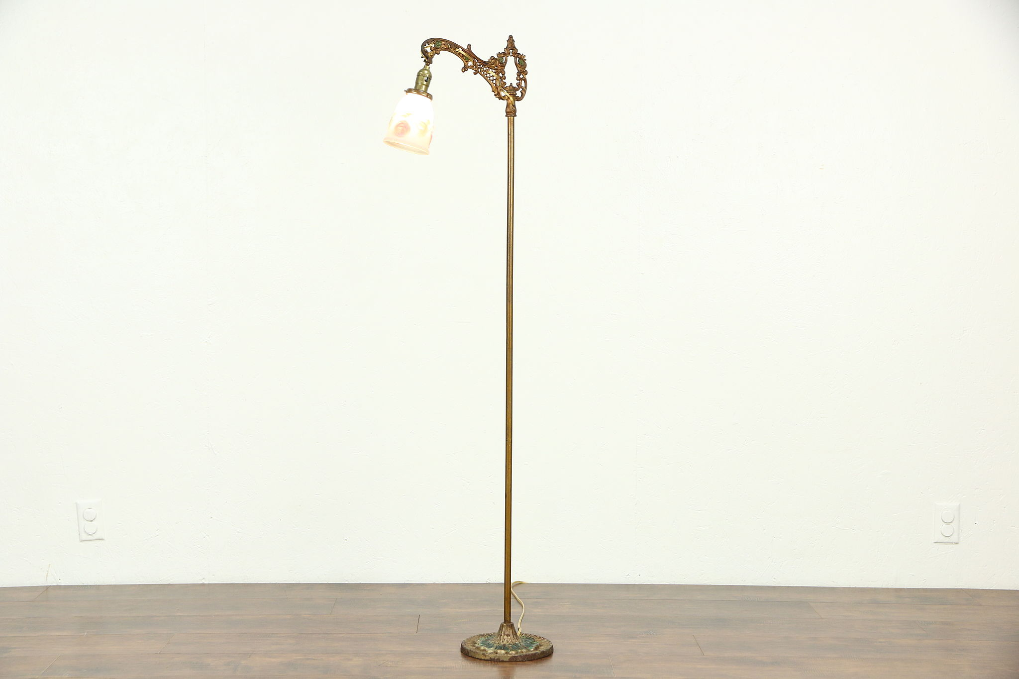 Gold Floor Reading Lamp Iron Antique Hand Painted Bridge Or Floor Reading Lamp Reverse Painted Shade
