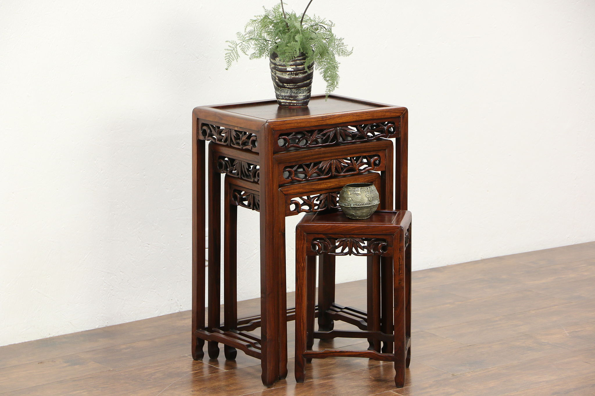 Asian Nesting Tables Set Of 4 Hand Carved Rosewood Chinese Vintage Nesting