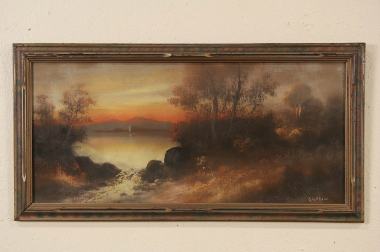 Glatthaar Sunset Original Signed 1900 Pastel Or Chalk Drawing Signed Glatthaar
