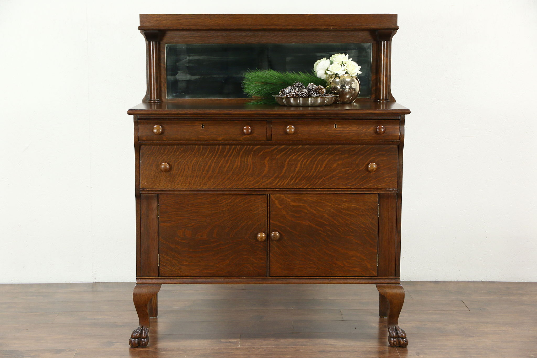 Vintage Oak Sideboard With Mirror Sold Empire 1910 Antique Oak Sideboard Server Or Buffet
