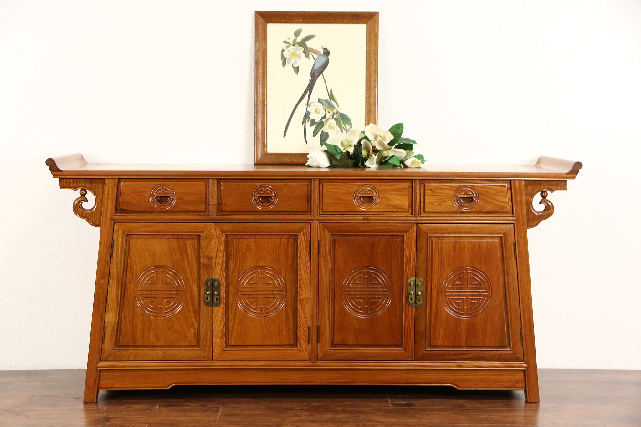 Vintage Rosewood Sideboard Asian Vintage Hand Carved Rosewood Sideboard Server Or Console Thailand