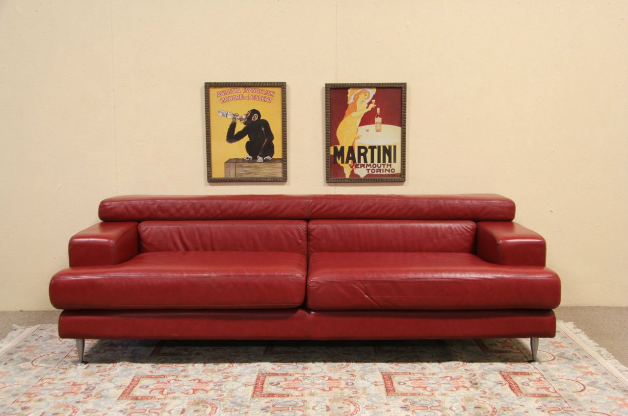 Vintage Couch Divani Italian Red Leather Vintage Sofa 7 Long