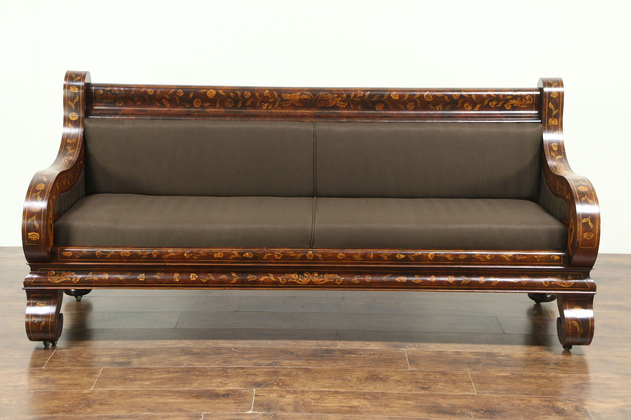 Sofa Dutch Dutch Inlaid Marquetry 1860 Antique Mahogany Sofa Newly Upholstered