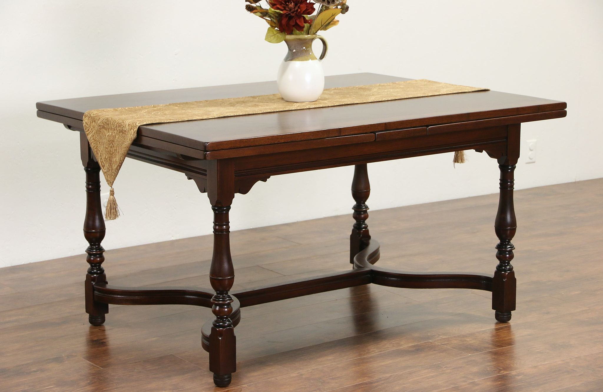 Table With Slide Out Leaves Sold Tudor Walnut Antique 1910 Dining Or Library Table