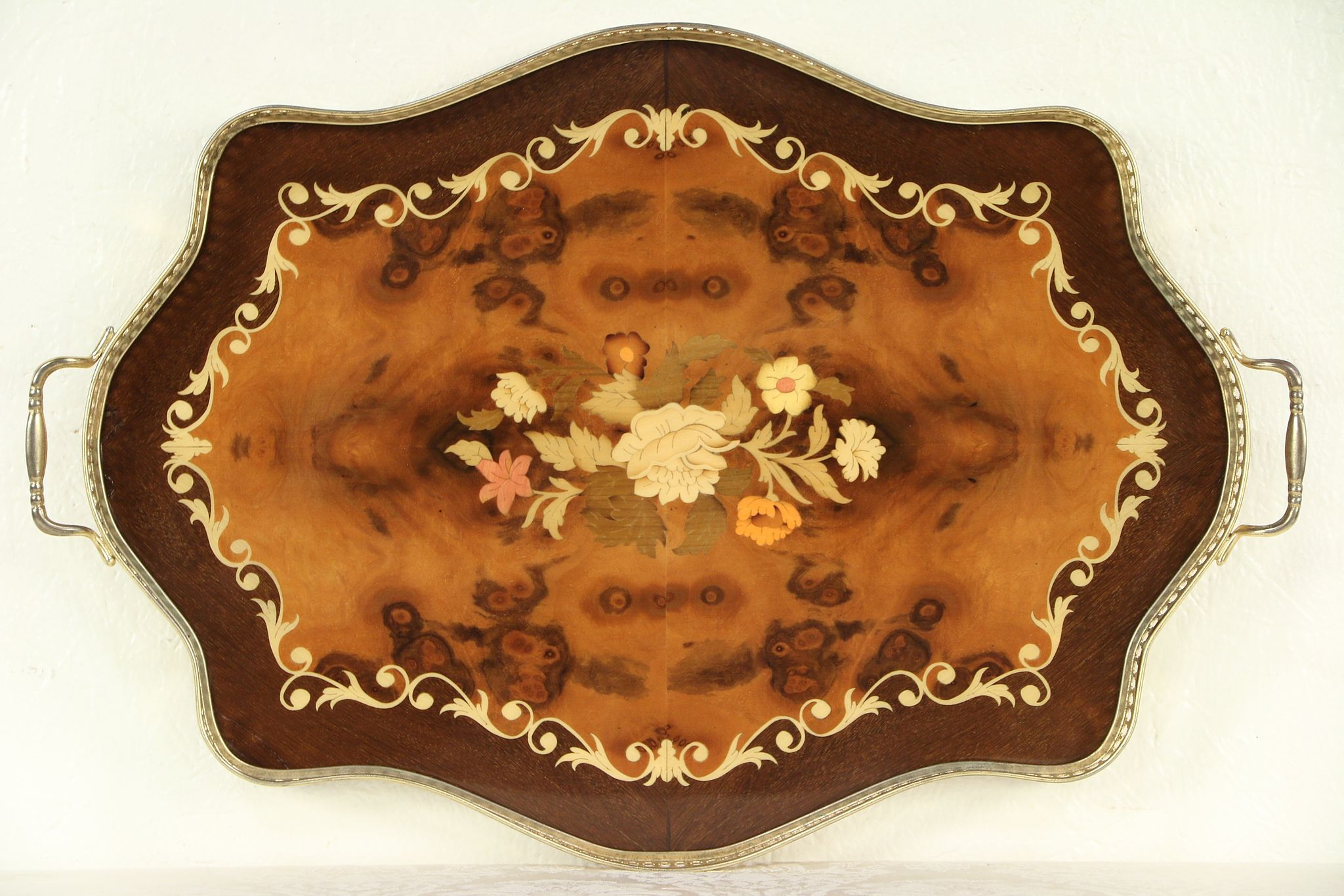 Gold Serving Tray Italian Inlaid Marquetry Vintage Serving Tray Gold Plated Gallery 29336
