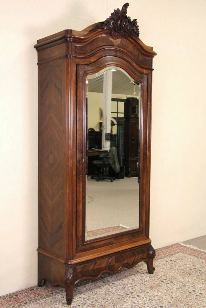 Sold Rosewood French 1910 Antique Carved Armoire