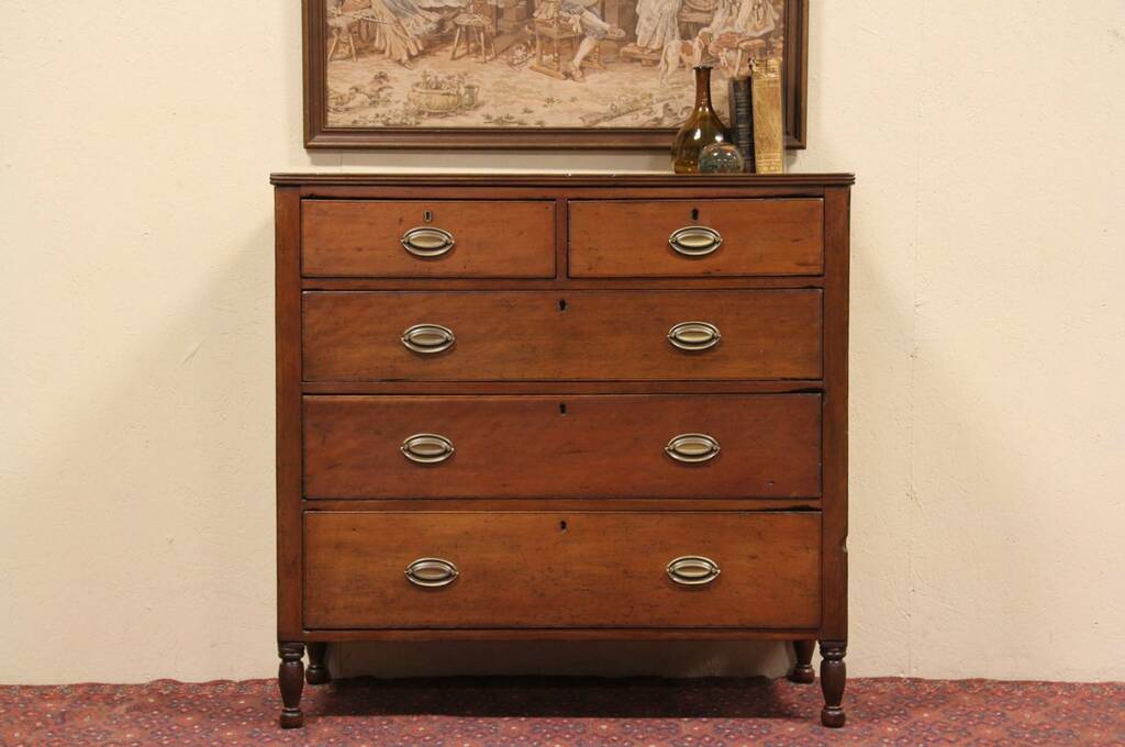 Large Dresser Sold - Country Hepplewhite 1800 Cherry Chest Or Dresser