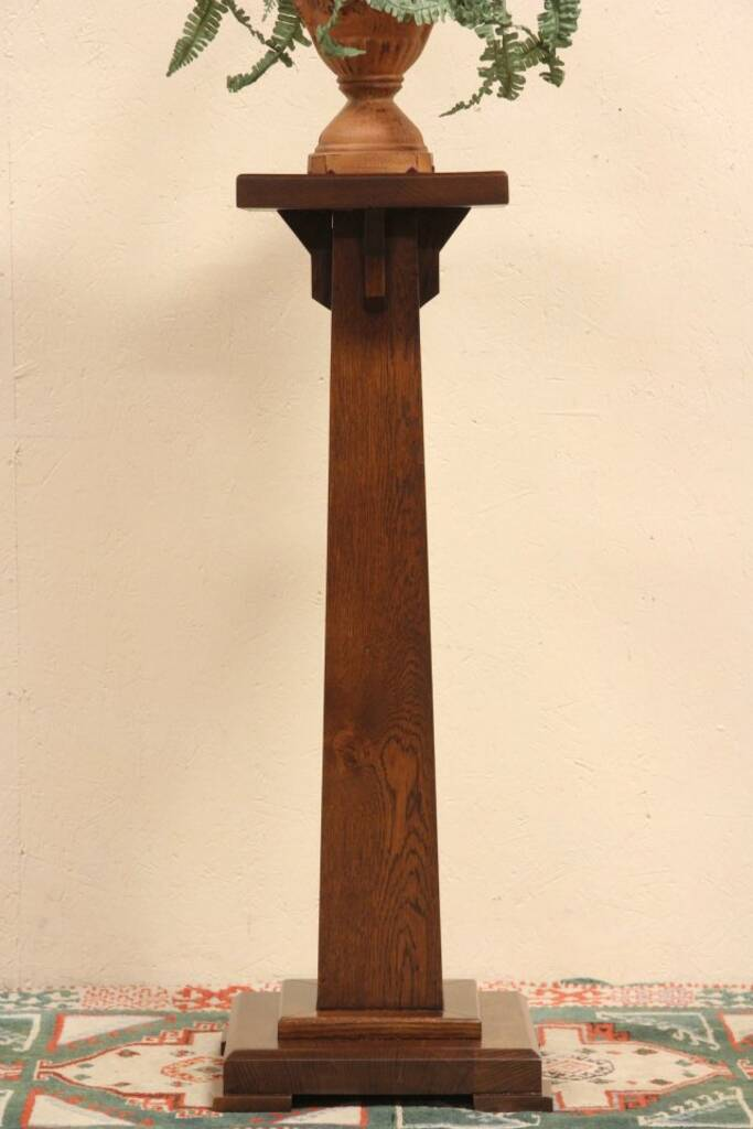 Rustic Furniture Sold - Arts & Crafts Mission 1900 Antique Oak Pedestal Or