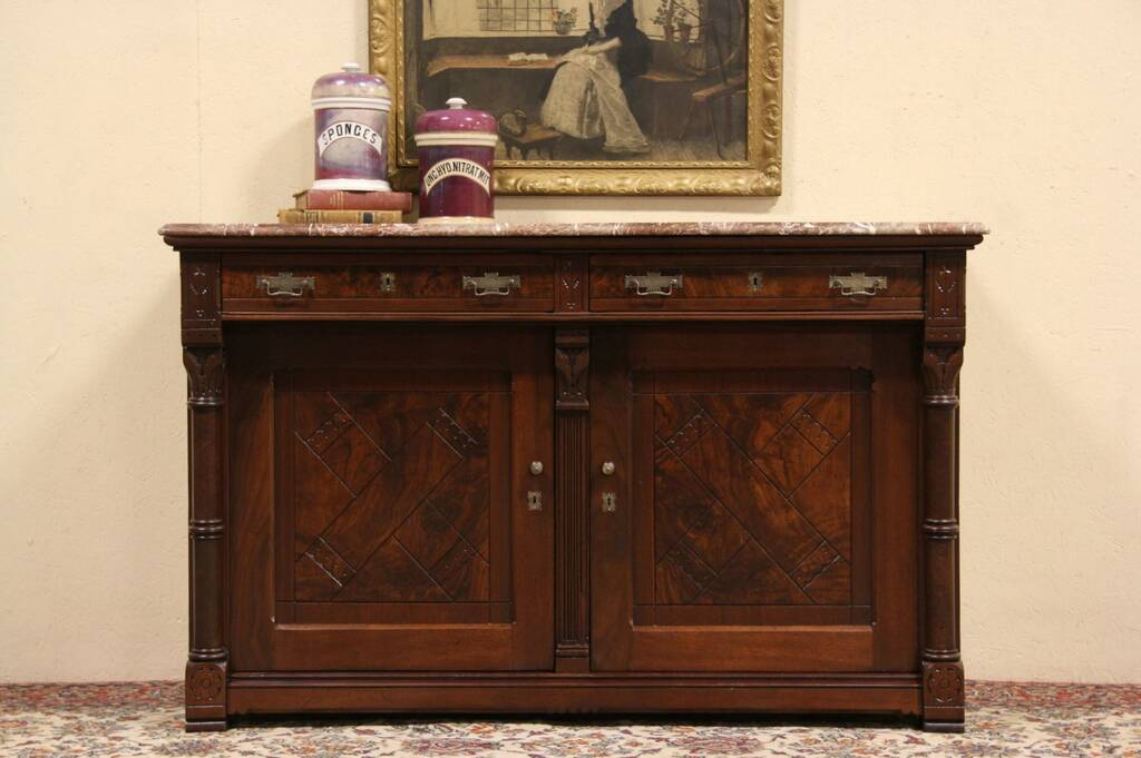 Victorian Eastlake 1875 Antique Marble Top Sideboard - Sideboard Ebay