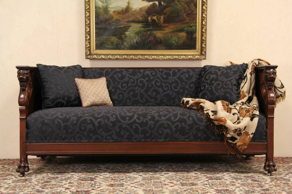 Sofa Couch Sold - Carved Griffin & Lion Paw 1910 Antique Mahogany