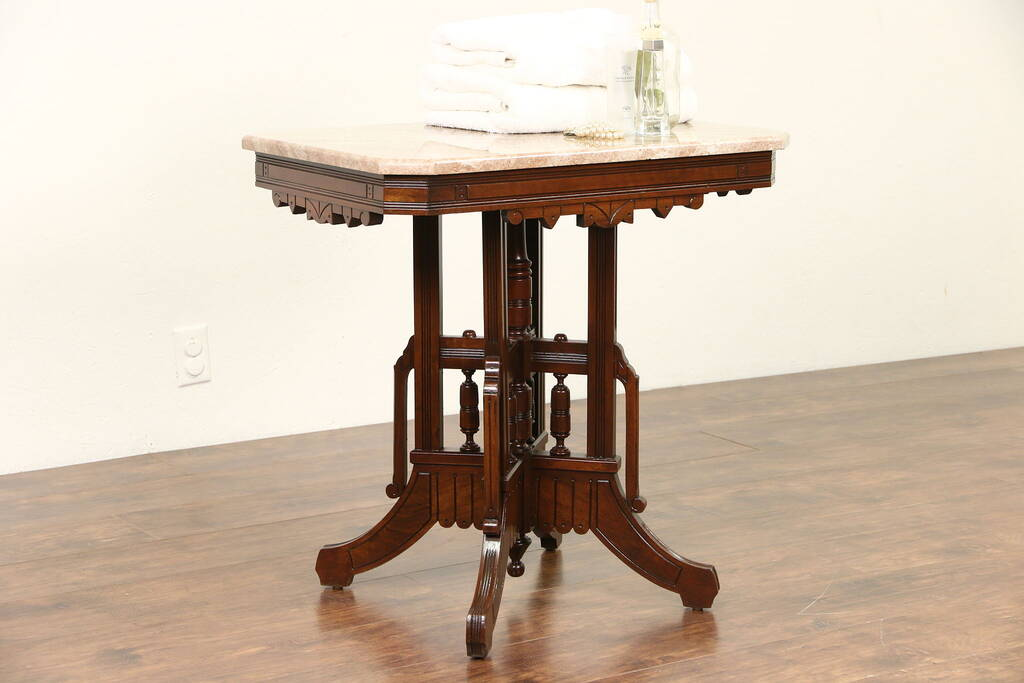 Victorian Coffee Table Sold - Victorian Eastlake 1880's Antique Marble Top Walnut