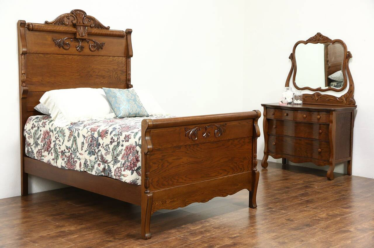 Bedroom Set Including Mattress Victorian Carved Oak Antique 1900 Bedroom Set Full Size