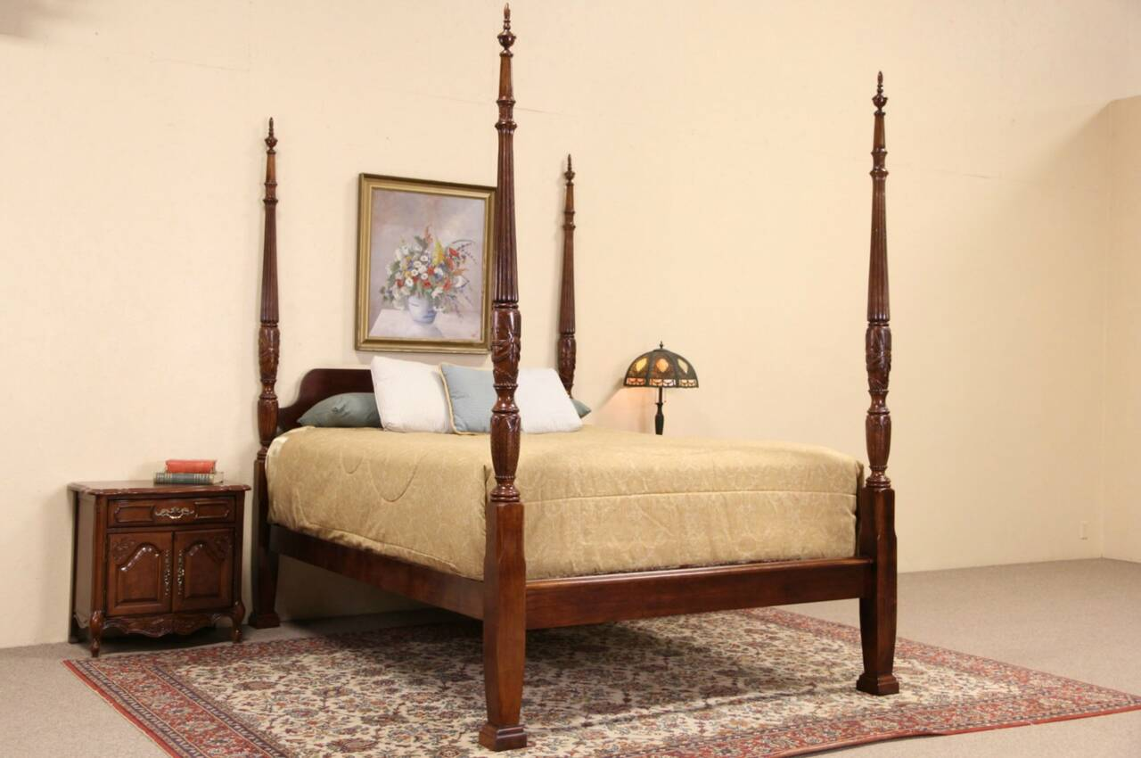 Four Poster Queen Size Bed Charleston Rice Motif Carved Mahogany Queen Size