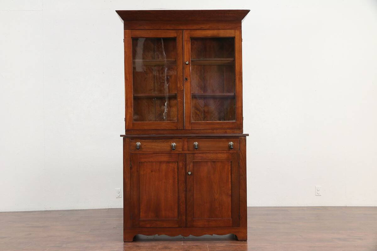 Bookcase Cabinet Details About Walnut Antique 1860 Bookcase Cupboard Or China Cabinet Wavy Glass 30004