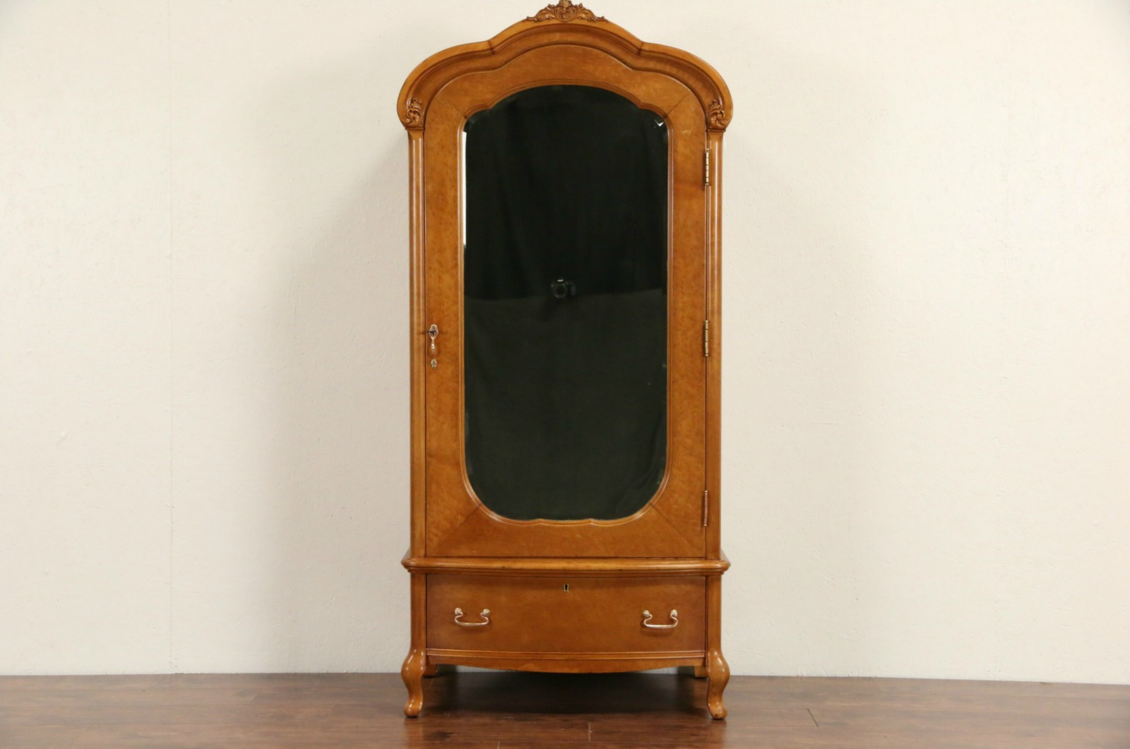 Sold Curly Birdseye Maple 1910 Antique Armoire Wardrobe Or Closet Signed Widdicomb Harp Gallery Antiques Furniture