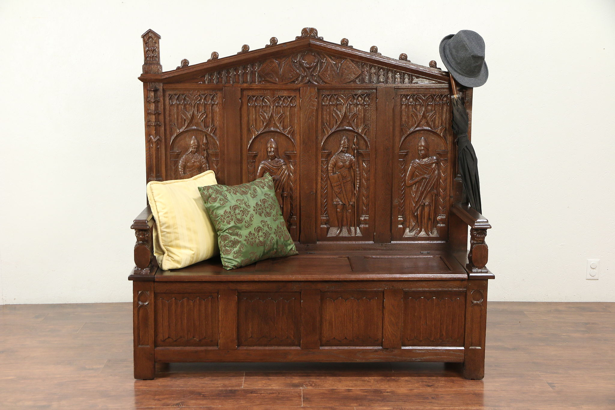 Sold Gothic Belgian Antique Oak Hall Bench Carved Knights Lions 29849 Harp Gallery Antiques Furniture
