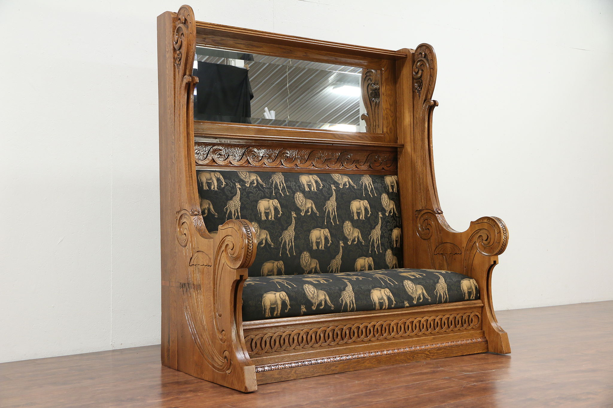 Sold Art Nouveau Antique Giant Carved Oak Belgian Hall Bench Mirror 29962 Harp Gallery Antiques Furniture