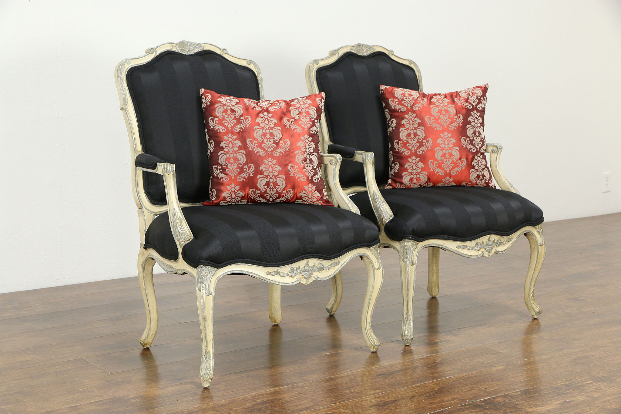 Sold Pair Of French Farmhouse Hand Painted Vintage Chairs New Upholstery 34445 Harp Gallery Antiques Furniture