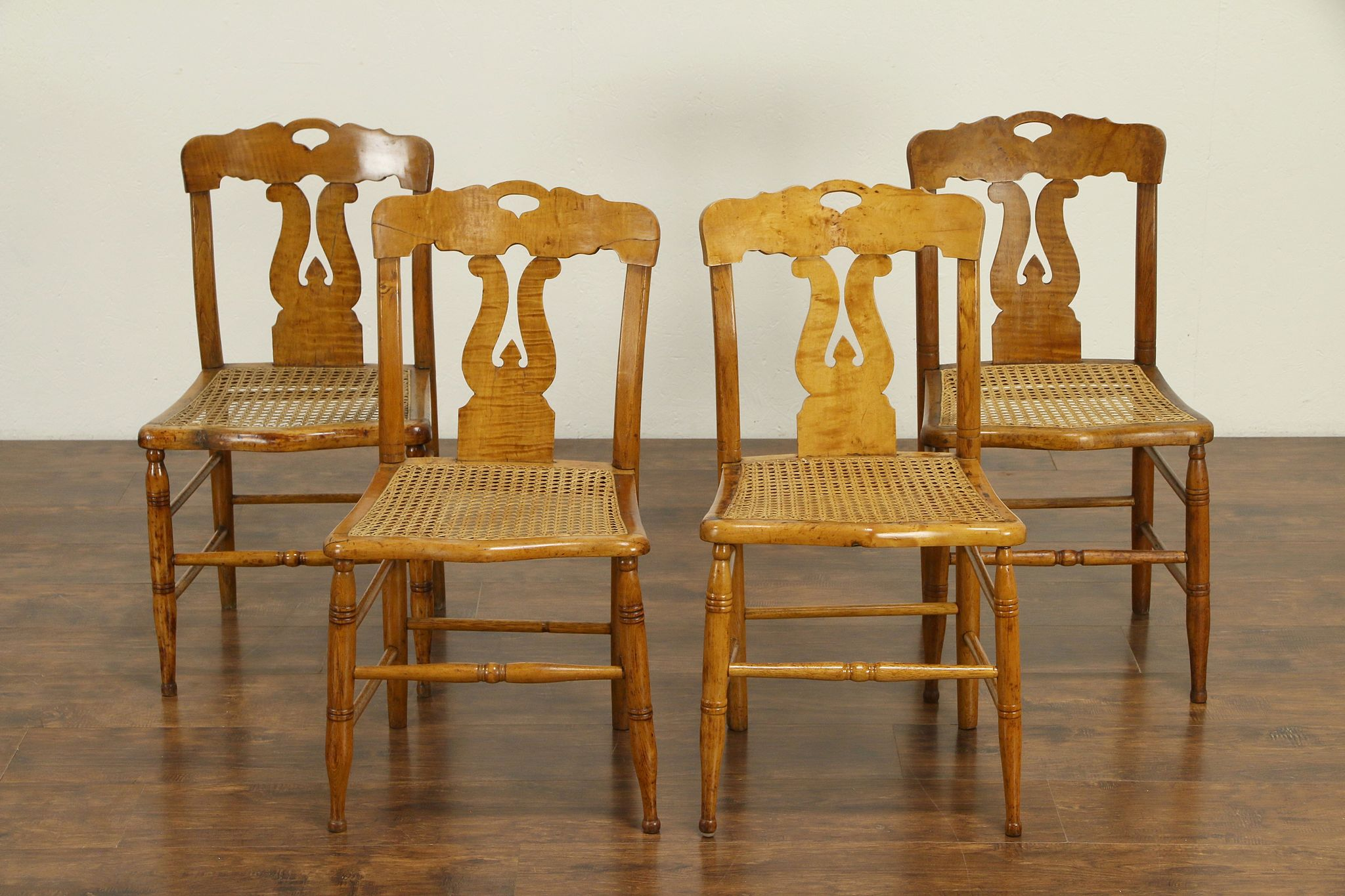 Sold New England Curly Maple Antique 1825 Lyre Back Set Of 4 Dining Chairs 30799 Harp Gallery Antiques Furniture