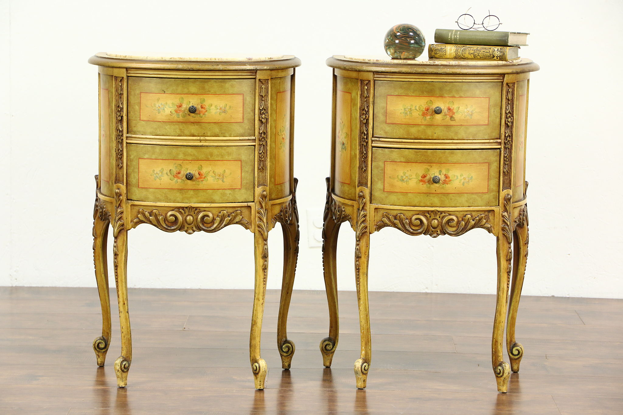 Sold Pair Of Marble Top 1930 S Vintage Hand Painted End Tables Or Nightstands Harp Gallery Antiques Furniture