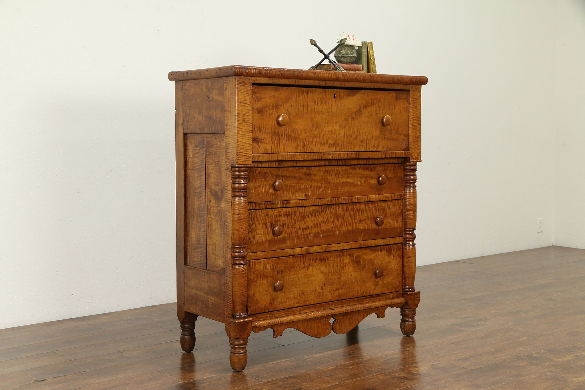 Sold Empire Tiger Curly Maple Antique 1825 Chest Or Dresser Ohio 32483 Harp Gallery Antiques Furniture