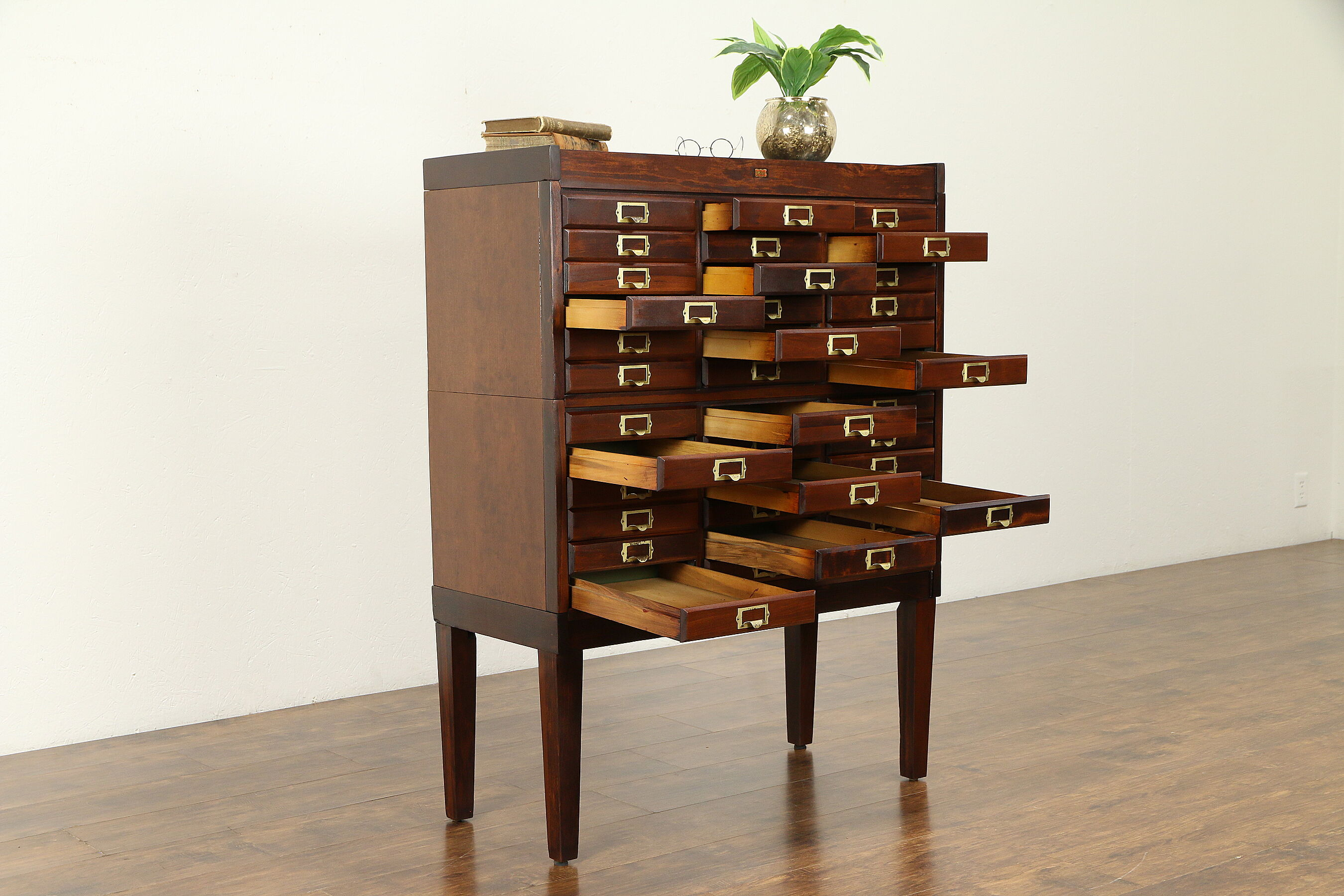 SOLD - Stacking 36 Drawer Antique 1915 File, Collector or Music Cabinet, Weis #31278 - Harp Gallery Antiques & Furniture