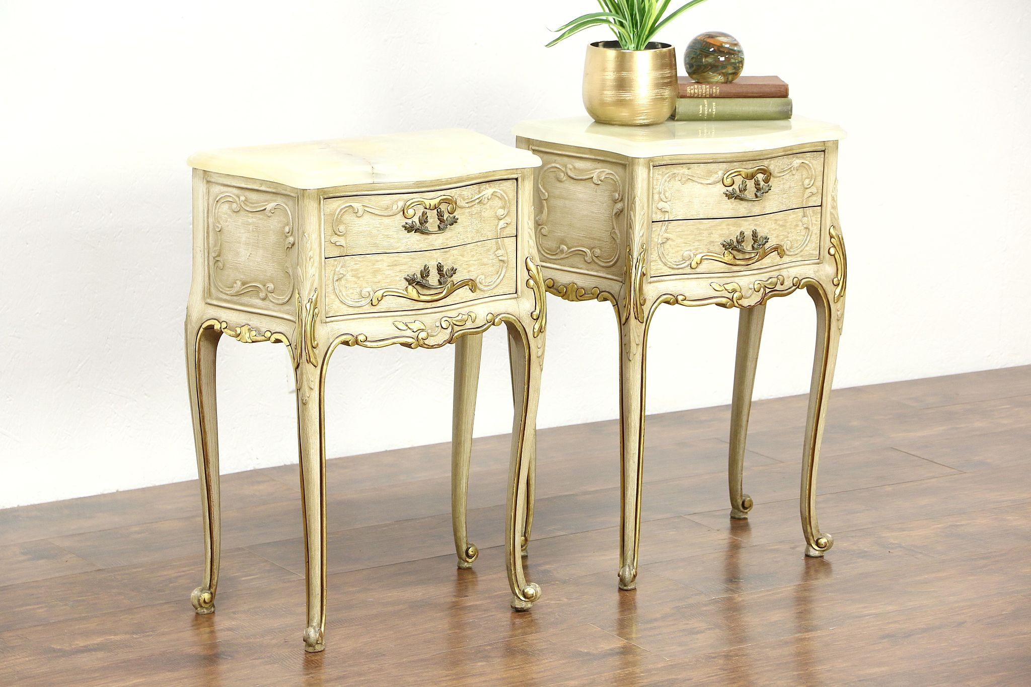 Sold Pair Italian Hand Painted Vintage Nightstands Or End Tables Onyx Tops Harp Gallery Antiques Furniture