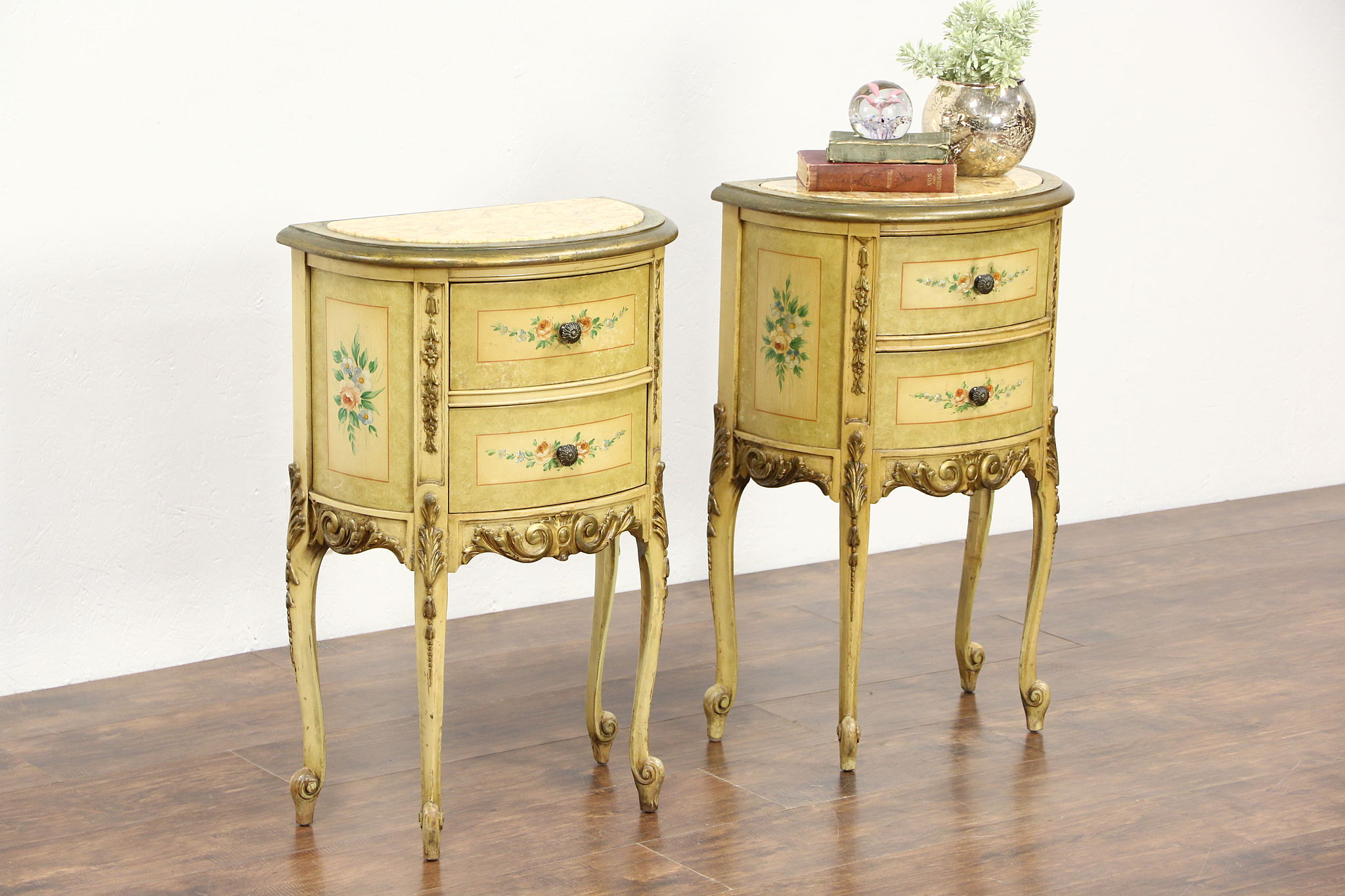 Sold Pair Hand Painted 1930 Vintage End Tables Or Nightstands Marble Tops Harp Gallery Antiques Furniture