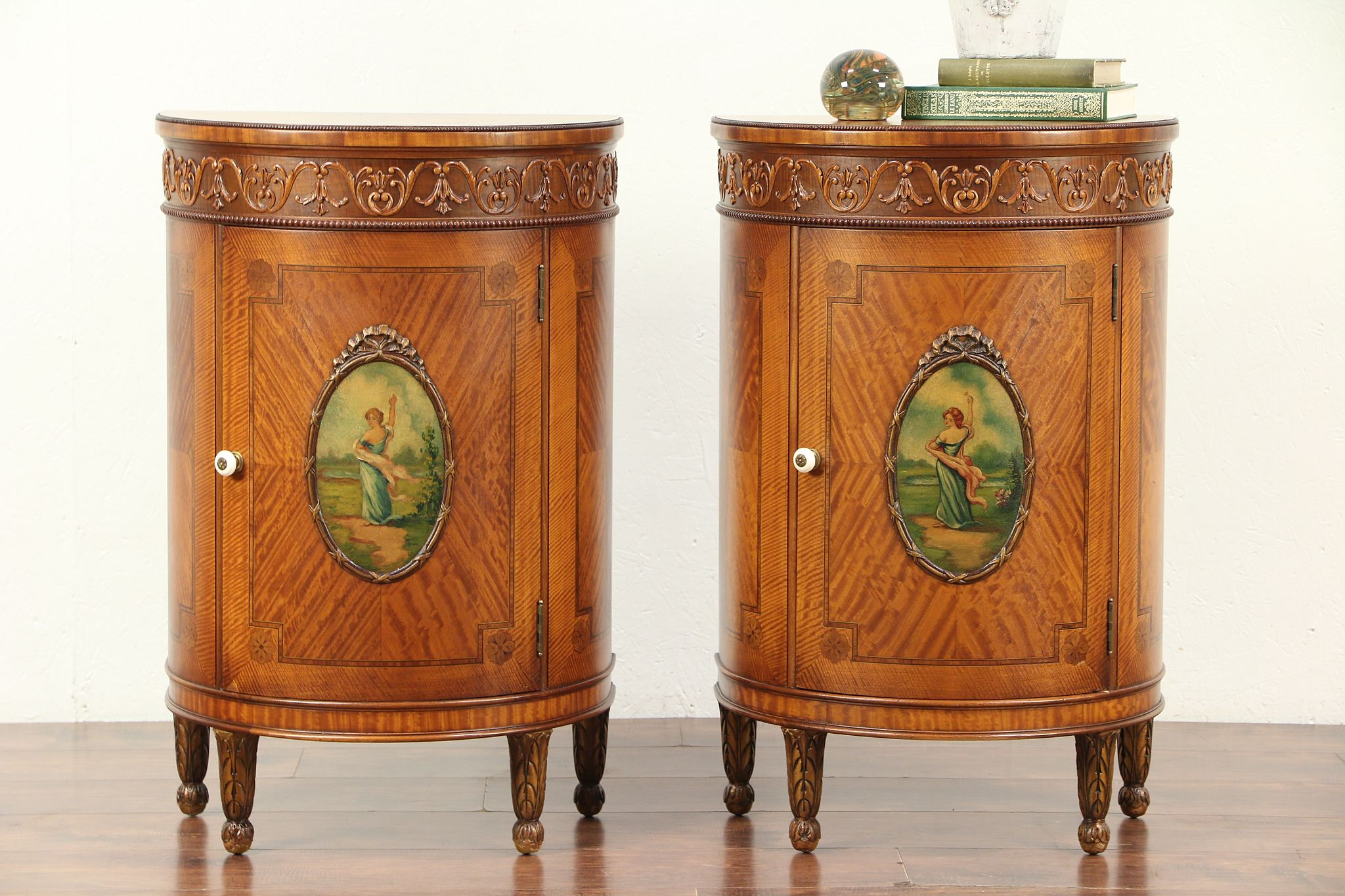 Sold Pair Antique Satinwood Demilune Nightstands Or End Tables Hand Painted 29472 Harp Gallery Antiques Furniture
