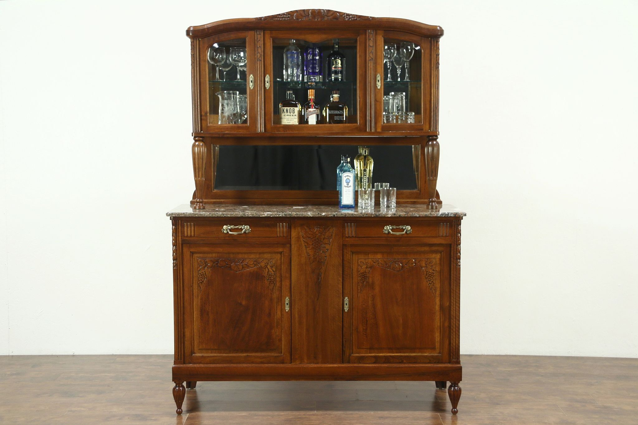Sold Art Deco Antique Marble Top Sideboard Server Backbar Carved Grapes Belgium Harp Gallery Antiques Furniture