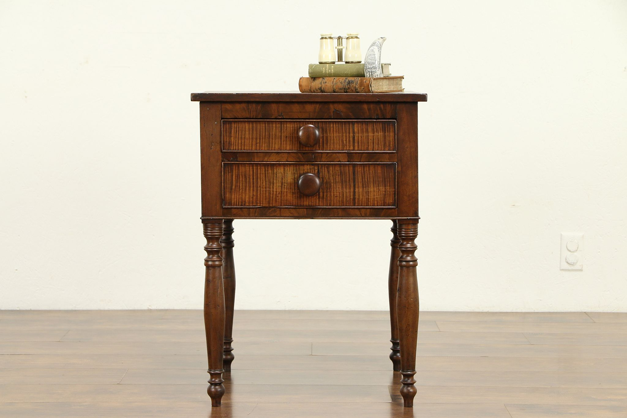 Sold Sheraton 1820 Antique Cherry Tiger Maple Nightstand Or End Table 32517 Harp Gallery Antiques Furniture
