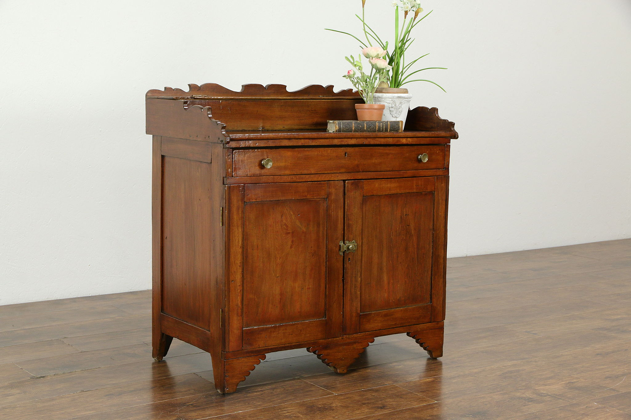 Sold Folk Art Carved Maple Antique Kitchen Pantry Cabinet Bar Or Washstand 33316 Harp Gallery Antiques Furniture