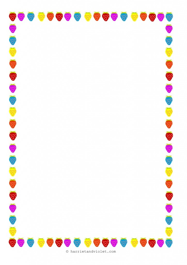 Strawberry Border Paper Multicoloured Plain, Lined and Half Line d - lined border paper