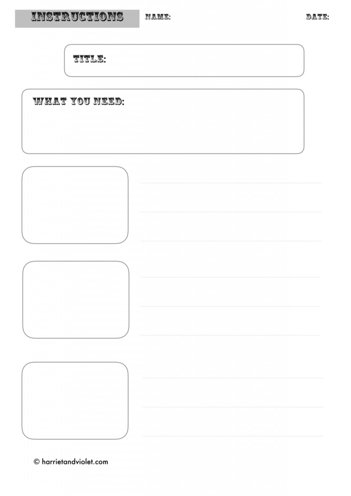 Instruction Writing Template - Free Teaching Resources - Harriet + - instruction template