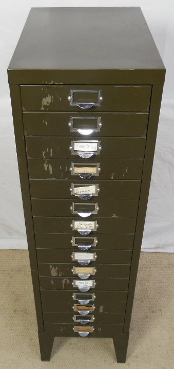 Dining Settee Industrial Metal Tall Multi-drawer Narrow Chest