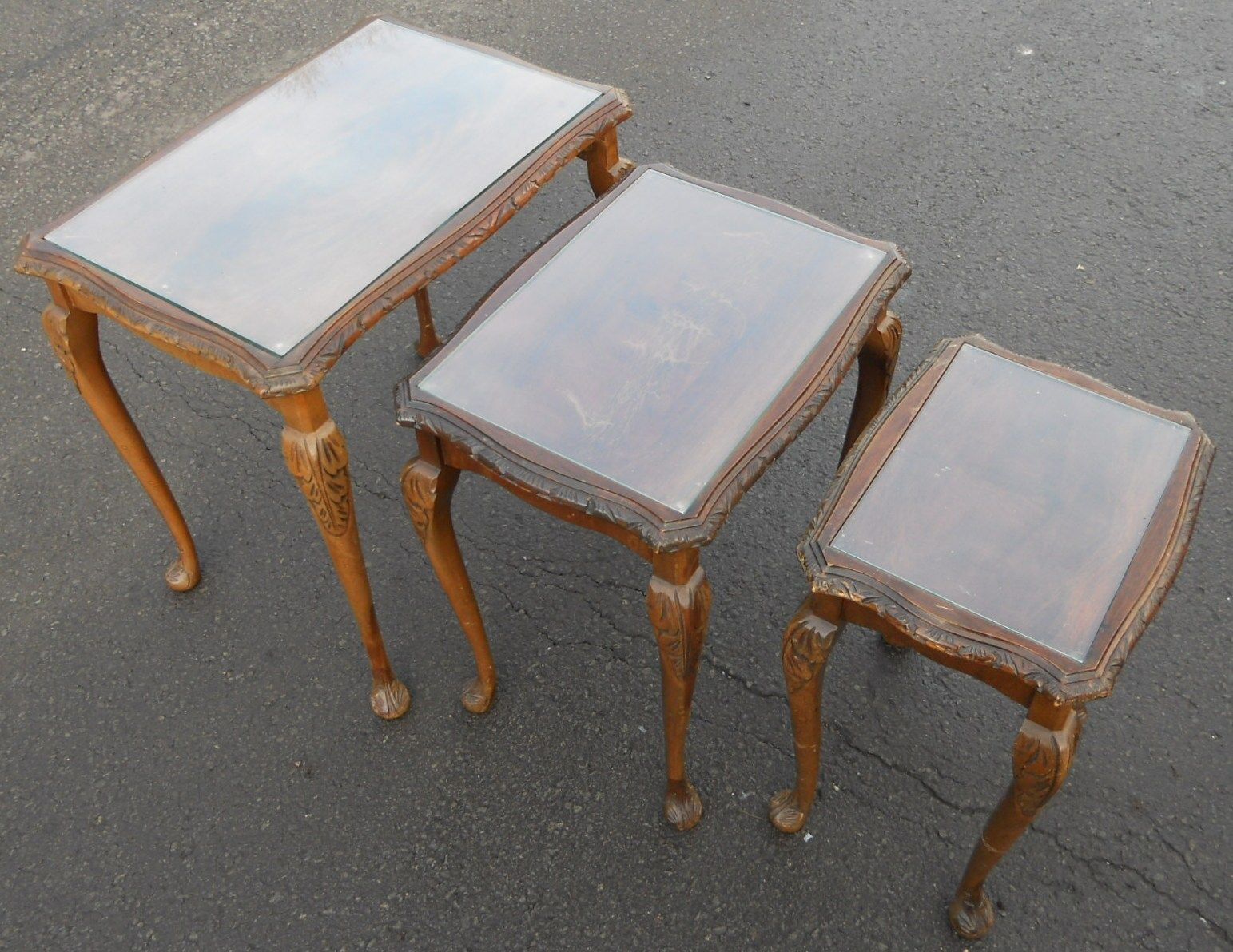 Glass Nest Coffee Tables Nest Of Three Mahogany Glass Top Coffee Tables