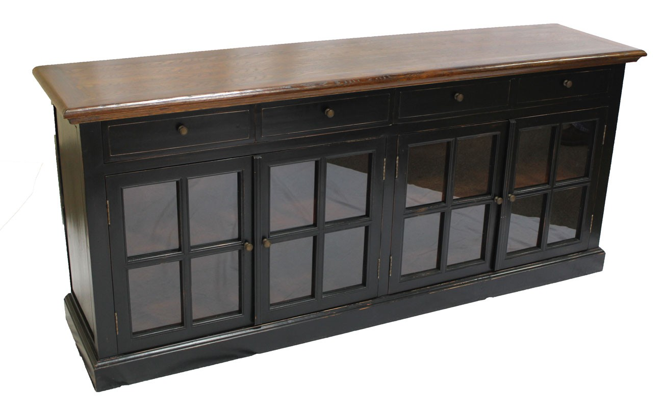 Buffet Sideboard With Glass Doors Black Sideboard 4 Glass Doors Sd-003