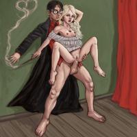 Cute Hermione takes the great Harry Potter's giant long shlong where it belongs!