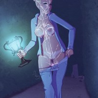 This slutty chick like to walk all around the Hogwarts at night - so many magic wands that needs her attention!