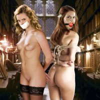 Ginny Weasley and Hermione are both bare and strapped... what kind of kinky magic is going to happen with them next?