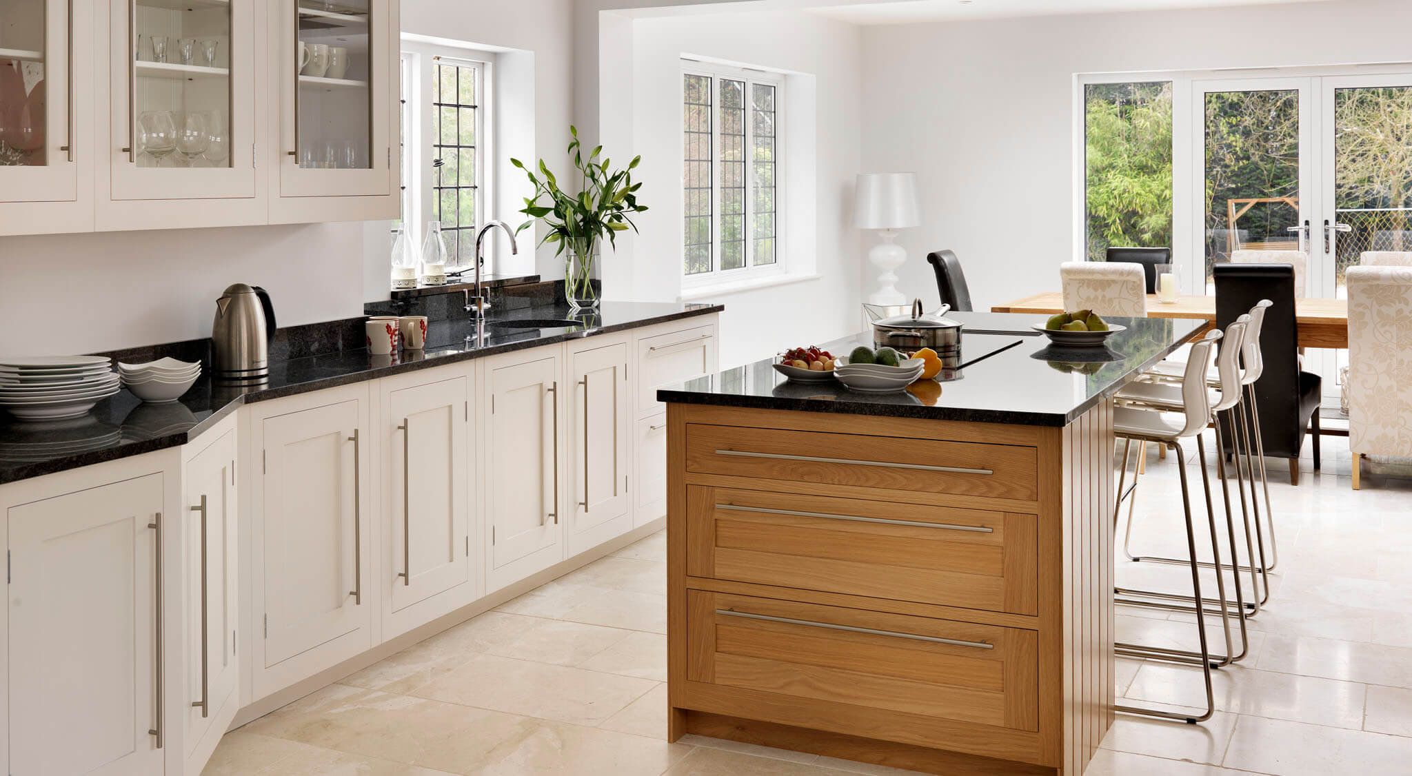 Kitchen Design Open Plan Open Plan Oak And White Shaker Kitchen Harvey Jones