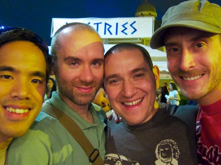 In front of the beer tent; local beer, not Greek beer