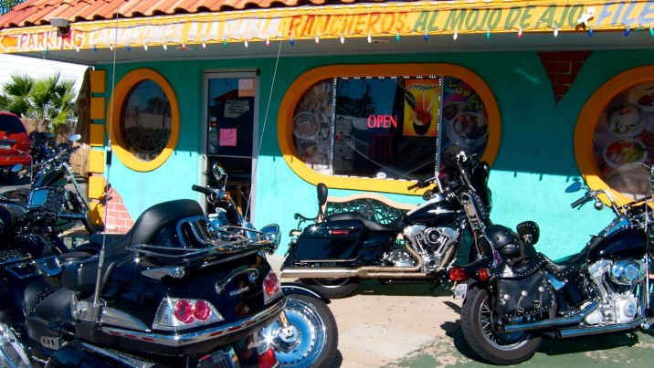Galveston's annual Lone Star Rally is this weekend. Everyone is out to breakfast, parking wherever room allows.