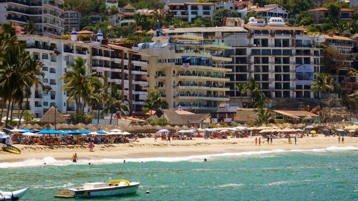 Hotels line the beaches of Puerto Vallarta.